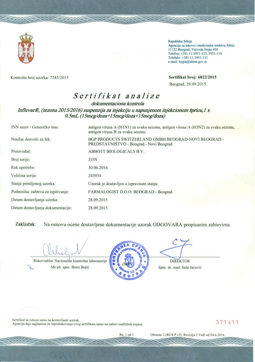 CoA_Influvac J35N_Serbia_29092015